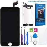 FLYLINKTECH Pantalla Táctil LCD Reemplazo para iPhone 6s Plus Negro 5.5' Contiene Herramientas + película de Vidrio Templado - Negro
