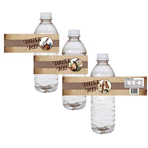 Alice In Wonderland Party Water Bottle Labels - Wedding Bridal Baby Shower Drink Sticker - Set of 12