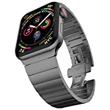 baozai Compatible with Apple Watch Band 44mm 42mm, iWatch Series 6/5/4/3/2/1/SE Upgraded Stainless Steel Link Bracelet with Butterfly Clasp, Space Gray