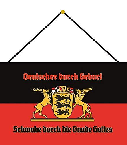 Blechschild 20x30cm gewölbt mit Kordel Schwaben Schwabe Flagge Wappen Metall Deko Geschenk Schild