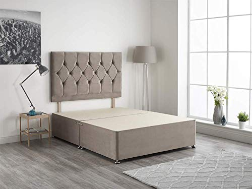 Bed Centre Light Gray Plush Velvet Fabric Divan Base Plus Matching Headboard and 4 Drawers 3ft 4ft 4ft6 5ft 6ft (4FT6 (Double))