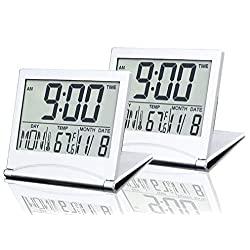 BESTWYA Travel Clock, Slim Compact Size Multifunction Digital Alarm Clock Battery Operated with Calendar Time Weekday Temperature Alarm Snooze Timer Function (No Backlight,Pack of 2)