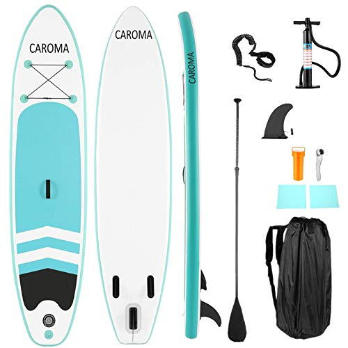 Caroma Tablas Hinchables de Paddle Surf, Paddle Remo de Ajustable Inflable Sup | Bomba | Aleta Central Desprendible | Surf Leash | Mochila | Kit de Reparación (Azul Claro, 305x71x10cm)