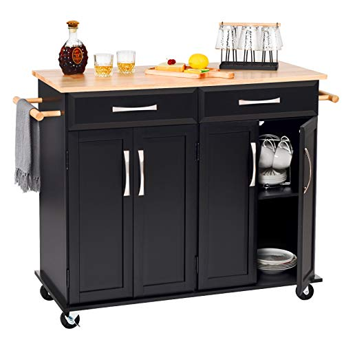 Catrimown Kitchen Island with Storage Drawer Cabinet Large Rolling Kitchen Island Cart on Wheels, Towel Rack, Lockable Wheels and Rubber Wood Countertop for Home, Black Illinois