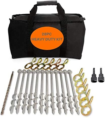 GROUNDGRABBA Ground Anchor Screw Kit Ground Anchor Kit for Swing Sets Screw in Anchor for Pop-Up Canopy 2X HexHooks /& 2X 1 Ft Ground Anchors Heavy Duty for High Winds Tents and More