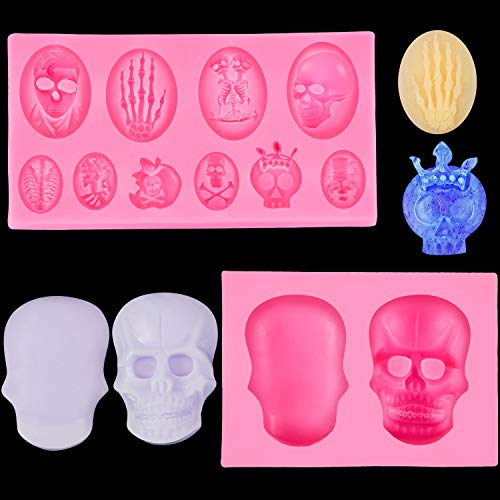 2 Pieces 3D Skull Silicone Mold Skeleton Fondant Baking Mold for DIY Clay Candy Desserts Cupcake Decoration, Pink