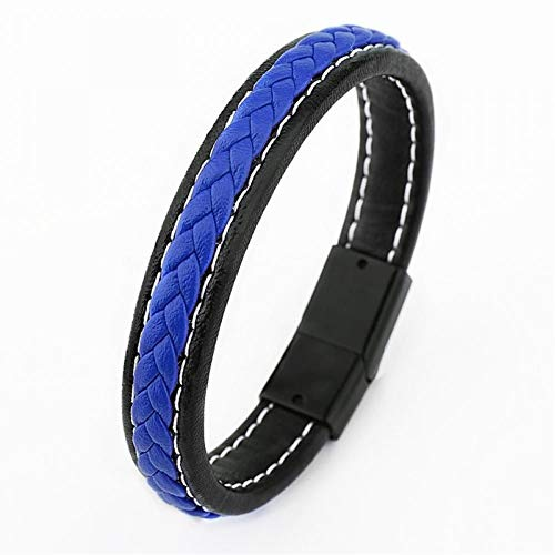 YIYYI HQXIZ Armband Magnetische Lederen Armband Knop Mannen Multilayer Wrap Geweven Lederen Armband
