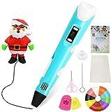 Lápiz 3D con fuente de alimentación USB Regalos de pantalla LED Temperatura/velocidad de impresión 3D ajustable para niños estudiantes 184 x 31 x 46 Mm