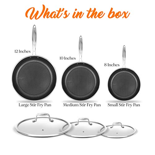 6-Piece Cookware Set Stainless Steel - Triply Kitchenware Pans Set Kitchen Cookware w/ DAKIN Etching Non-Stick Coating - Small, Medium, & Large Stir Fry Pan with Lid - NutriChef NC3PFRY3