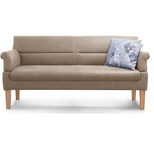 Cavadore 3-Sitzer Sofa Kira mit Federkern / Sitzbank für Küche, Esszimmer / Inkl. Armteilfunktion / 189 x 94 x 81 / Lederoptik beige