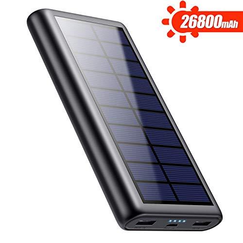 Feob 26800mAh Power Bank Solare, Caricabatterie Portatile Solare per Cellulari Grande capacità Batteria Esterna Ricarica Rapida con 2 USB Porte per iPhone, iPad, Mac, Samsung, Huawei