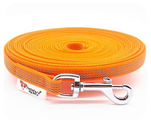 Twinkys Dog Style Made IN Germany Schleppleine Hundeleine gummiert 15 mm breit für Hunde bis 50 kg - OHNE Handschlaufe 15 Meter Orange