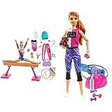 Barbie Olimpíadas, Muñeca Gimnasta, Barra De Equilibrios De Juguete Y Más De 15 Accesorios + Bienestar, Muñeca con Ropa Deportiva Y Accesorios, Regalo para Niñas Y Niños 3-9 Años (Mattel Gjg57)