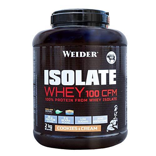 Weider Isolate Whey 100CFM 2000 gr Cookies. 100% aislado de proteina de suero. Cero azúcar, cero aspartamo, con stevia, con dygezime, con BCAA, apto para veganos. Isolac. Para dietas keto.