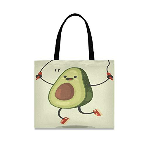 Große quadratische Kapazität Schulter Reisetasche niedliche Avocado-Cartoon-Figur macht das Springseil Tote Einkaufstasche 19,7 X 16.9in Print für Mädchen Damen einkaufen tägliche Arbeit