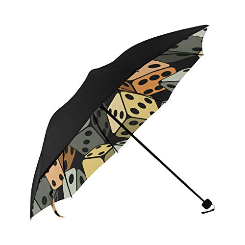 Casino Dice Stereo Point Game Creative Design Square Sports Compact Travel Umbrella Parasol Anti Uv Foldable Umbrellas(underside Printing) As Best Present For Women Uv Protection