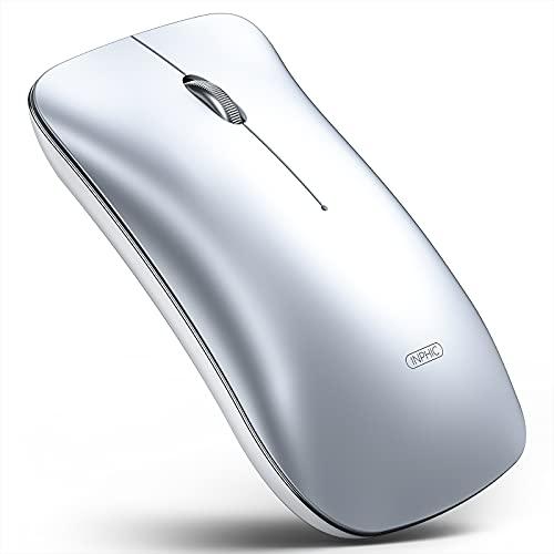 Inphic Mouse Bluetooth, Mouse Wireless Ricaricabile Silenzioso Multidispositivo (modalità tri: BT 5.0/3.0 + USB 2.4G), mouse portatile senza fili da 1600 DPI per laptop PC Computer Mac, argento