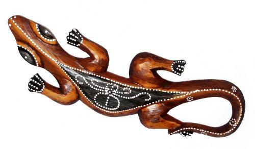 Unbekannt Wandbild Gecko V 50cm Wanddeko schwarz Wandfigur Echse Eidechse Salamander Wandschmuck Afrikafigur Geschenk-Idee