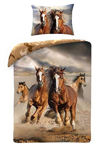 Horse Best Friends - Juego de ropa de cama para niños, diseño de caballo, 2 piezas: funda de almohada y funda nórdica: algodón, regalo ideal para niños y niñas