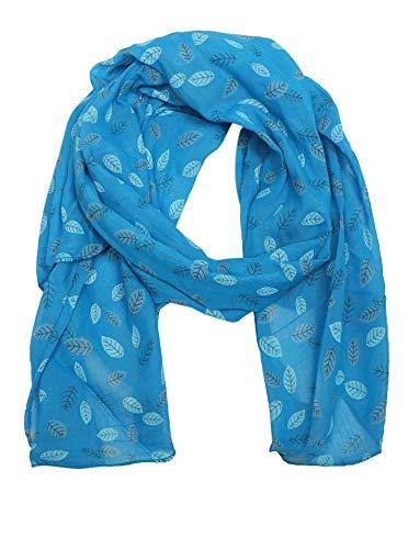 Zwillingsherz Seiden-Tuch Damen mit Blätter Muster - Made in Italy - Eleganter Sommer-Schal für Frauen - Hochwertiges Seidentuch/Seidenschal - Halstuch und Chiffon-Stola Dezent Stilvoll blau