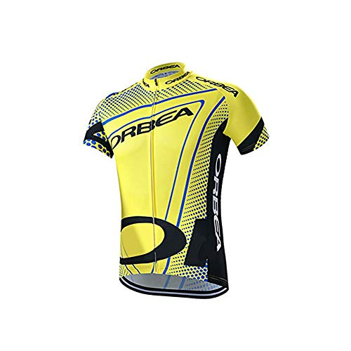 Rstar ORBEA Pro Team Cycling Jersey Short Sleeve Yellow Bike Top Quick Dry Men Summer Bicycle Clothes (2XL)