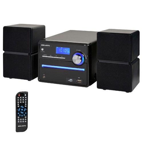 Majestic 122336_BK Sistema Micro Hi-Fi con Lettore CD/MP3 e Radio FM Stereo, Nero