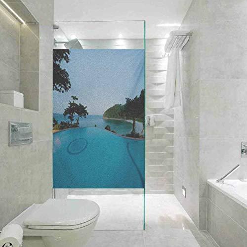 Glaspapier-Fenster-Dekorfolie, Landschaftsblick am Pool bei Sonnenuntergang, Strand im Meer, lebendige Farbe, Glasfolie für Badezimmer Meeting Living Ro, 60 x 90 cm