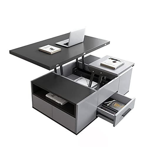 Ascensor Mesa de café Moderna sala de estar Muebles creativos Mesa de extremo Multifuncional Plegable Mesa de comedor Levantamiento de mesa de mesa con 2 taburetes Gabinete de almacenamiento oculto +