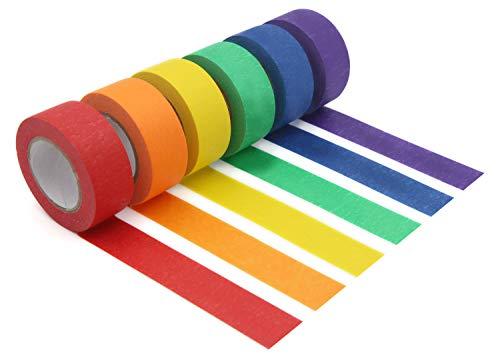 Foryee Buntes Abdeckband, Malerkrepp, dekorativ, farbiges Klebeband, für Kunst und Handwerk, Beschriftung oder Codierung, Kunstzubehör, für Kinder, 2,5 cm