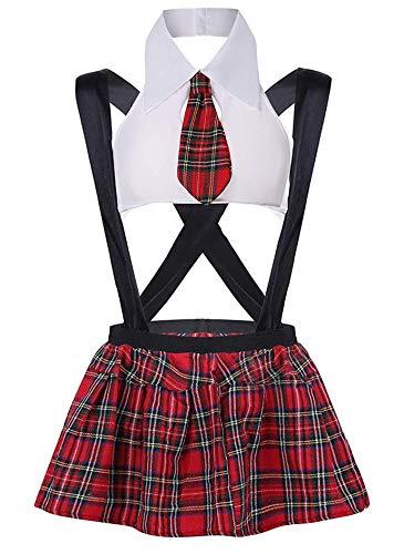 Evelure Lencería para Mujer Babydoll Sexy Disfraz de Colegiala Uniforme Lolita Vestido Mini Top y Falda Plisada a Cuadros (D-White,Large)