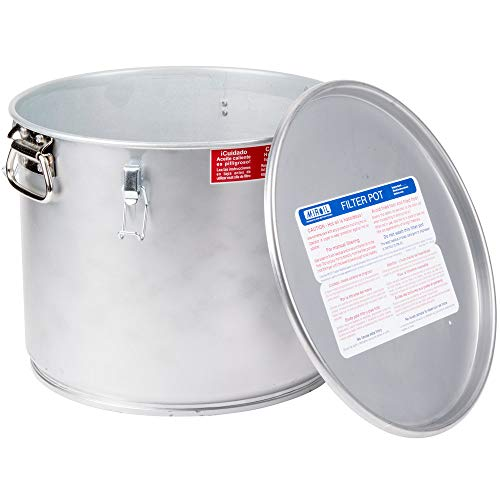 MirOil 40L Grease Bucket & Oil Filter Pot For Filtering of Hot Cooking Oil, Gasket Safety Lid with Quick Lock Clips, For Fryer Capacity Up to 35 lbs