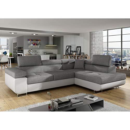 Canapé d'angle Blanc Tissu