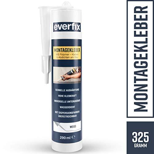 EVERFIX Montagekleber weiss, für innen und außen, kraftvoller Baukleber für Metall, Holz, Fliesen, etc, universell einsetzbar, zum Kleben und Abdichten, 325 g / 290 ml