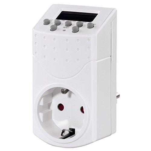 Hama Digitale Zeitschaltuhr Mini (Steckdose mit Kindersicherung, minutengenaue Einstellung, unterschiedliche Programme) weiß