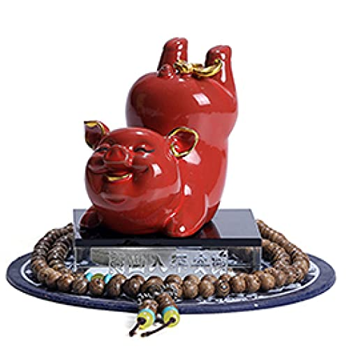 MDROGKUX Estatua de cerámica de Cerdo Rojo autopartes Interior hogar Dormitorio Estudio Sala de Estar Oficina decoración de Escritorio