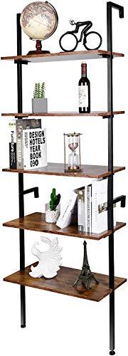 amzdeal Leiterregal Standregal Wandregal mit 5 Ebenen, Bücherregal, Stabiler Metallrahmen, für Badezimmer, Küche, Wohnzimmer, Balkon, Schlafzimmer, Büro