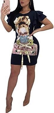 Speedle Women Casual Short Puff Sleeve Digital Graphic Print Loose Tunic T-Shirt Mini Dress Black 8 L
