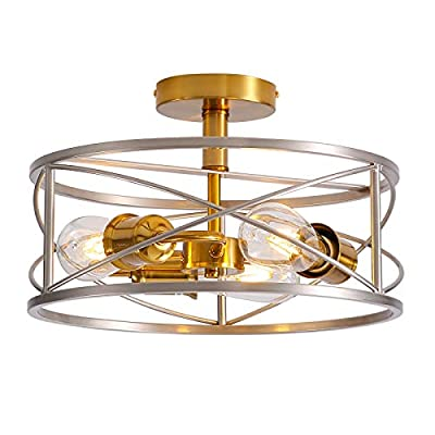 Vintage Semi Flush Mount Ceiling Light,3 Lights E26 Industrial Metal Cage Ceiling Light Fixture Pendant Lights Farmhouse Close to Ceiling Lamp for Kitchen Living Room Dining Room Bedroom Hallway