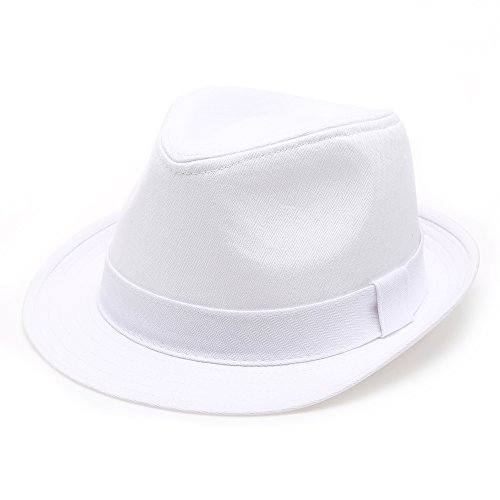 Classic Trilby Short Brim 100% Cotton Twill Fedora Hat with Band(White,LXL)