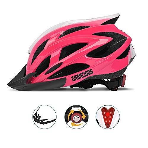 Bike Helmet, Fahrradhelm, verstellbare leichte Fahrradhelme für Mädchen, Frauen, Straßenhelm mit abnehmbarem Visier (Pink)