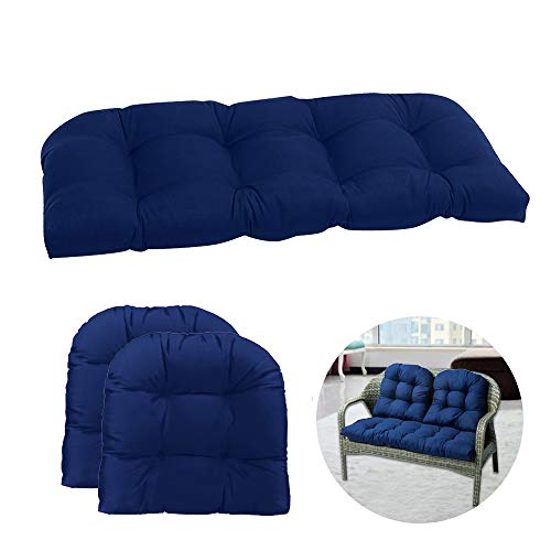 Wicker Patio Furniture Cushions Outdoor for Loveseat Cushion Set Better Homes and Gardens Deep Seat Replacement 3 Piece (Navy Blue)