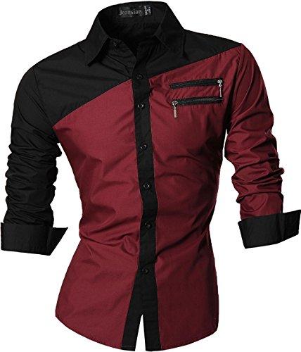 jeansian Herren Freizeit Hemden Shirt Tops Mode Langarmshirts Slim Fit Z015 WineRed M