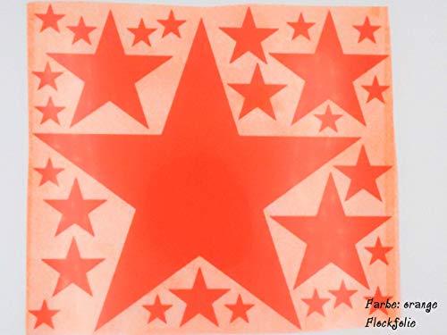 Bügelbild, Motiv: Sterne, Farbe: orange, Setgröße: maxi, heißsiegelfähige Flockfolie auf Basis von Viskosefasern