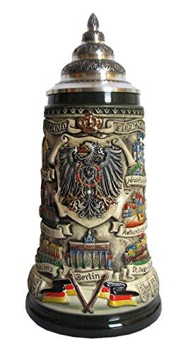 KING Jarra de Cerveza Alemana con una tapadera de estaño, Panorama de Alemania, rústica, Jarra 1 litro