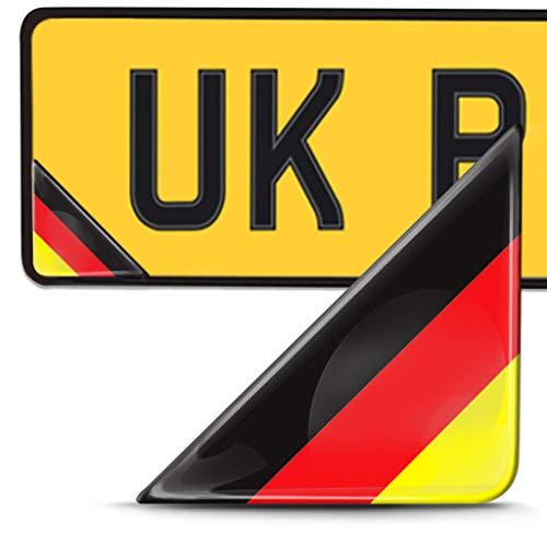 Biomar Labs 2 x 3D Pegatina Adhesivos Resinados para Placa de Matriculación Personalizadas Bandera de Alemania para Coche Moto Remolque F 138