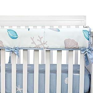 Brandream Baby Boy Crib Rail Cover Beach Theme Protector Guard Nautical Long Front Teething Rail Cover with Ocean Animal Crib Nursery Bedding, 100% Cotton
