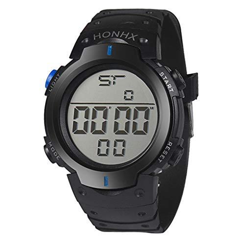 Digital Sport Uhren für Herren, Skxinn Unisex-Stoppuhrmit Silikon Bandmaterial LED-Licht Elektronisch Wasserdicht Ausverkauf(Blau,One Size)