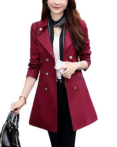 Preisvergleich Produktbild Revers Windjacke Mit Knöpfen Outwear Slim Fit Zweireiher Trenchcoat Für Damen Burgunderrot L