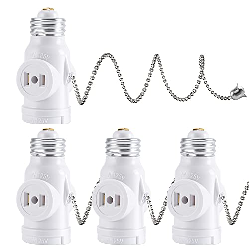 DiCUNO E26 Light Socket to Plug Adapter, 2 Polarized Outlet Bulb Splitter, UL Listed, Pull Chain Switch Control Light Bulb, Standard (Medium) E26 Base to 2-Prong Outlets Converter, White, 4-Pack