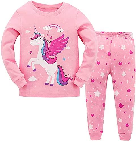 Garsumiss Pijamas para Niña Dos Piezas de Unicornio Manga Larga Invierno Pijama 2-12 Años, Estilo 3, 11 Años